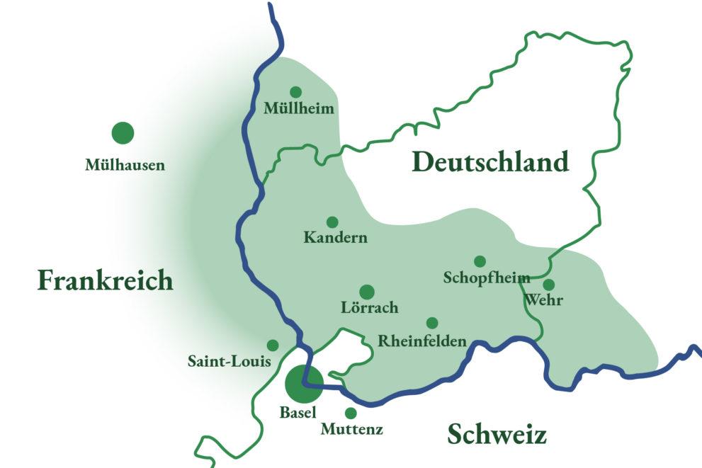 Eine Karte zeigt das Liefergebiet für das Bioabo. Es erstreckt sich in einem Gebiet hinter Müllheim, Kandern Schopfheim, Badsäckingen entlang der Grenze des Rheins und einem größeren Teil Frankreichs.